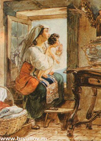 Итальянка с ребенком у окна (Брюллов К.П.)