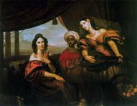 Графиня М.А. Потоцкая, графиня С.А. Шувалова с мандолиной и эфиопянка