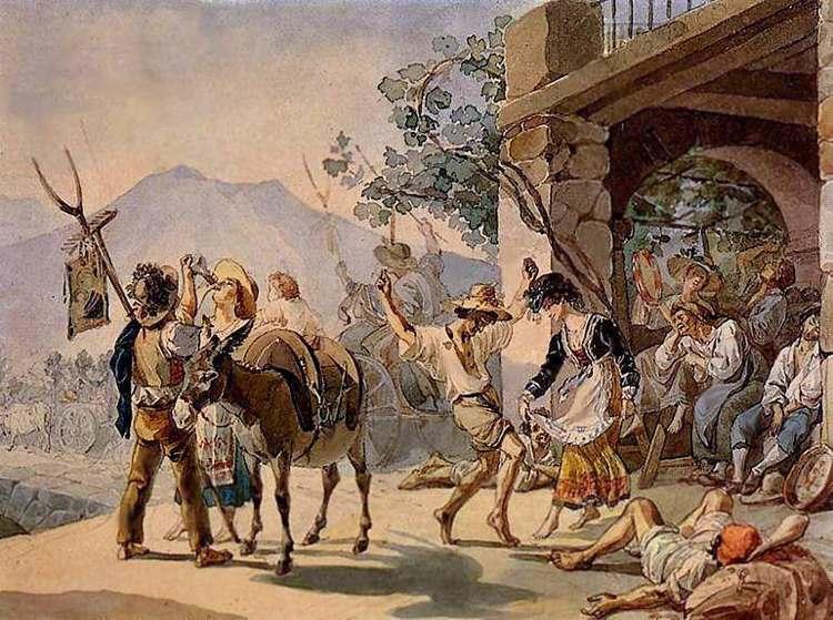 Праздник сбора винограда (Пляска перед остерией в Риме).