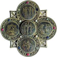 Поцелуйный образ в форме креста (чернь)
