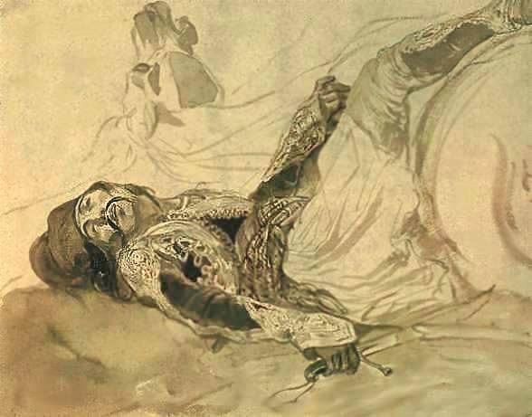 Раненый грек, упавший с лошади.