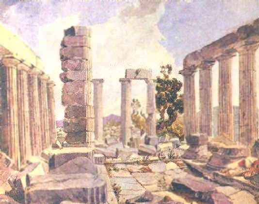 Внутренний вид храма Апполона Эпикурейского в Фигалии.