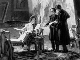 Молодой Т.Г. Шевченко в мастерской у К.П. Брюллова