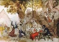 Итальянцы, веселящиеся в остерии.1824-1832