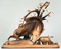 Скульптура из дерева Кабан, подарок охотнику