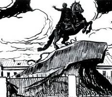 Иллюстрация к поэме Пушкина Медный Всадник (А.Н. Бенуа, 1904 г.)