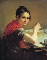 Золотошвейка 1826 81х64 см. Тропинин Василий Андреевич