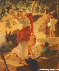 Девушка, собирающая виноград...