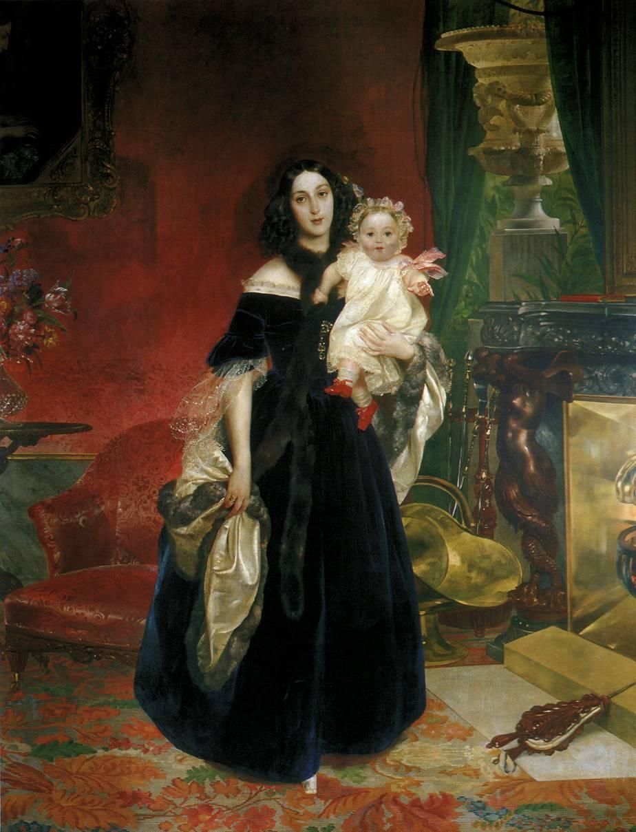 Портрет Марии Аркадьевны Бек с дочерью Марией Ивановной Бек.