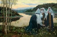 Картина Девушки на берегу реки.